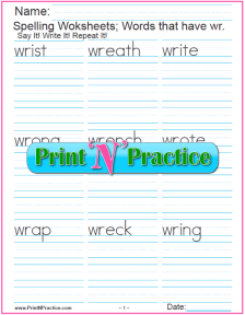 2 wr Worksheets with WR Words: Printable Phonics Worksheets