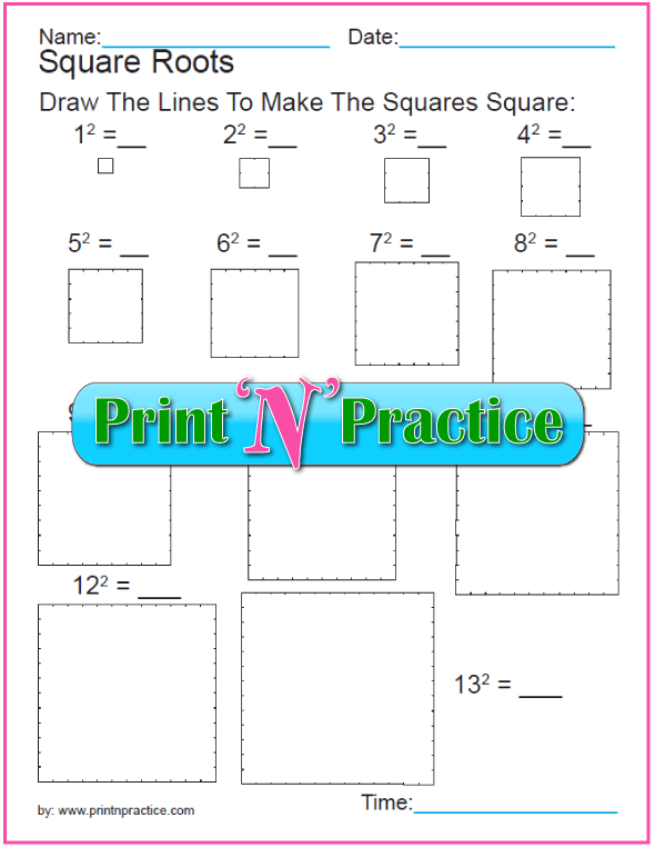 Exponent Worksheet: Square Root Practice 3