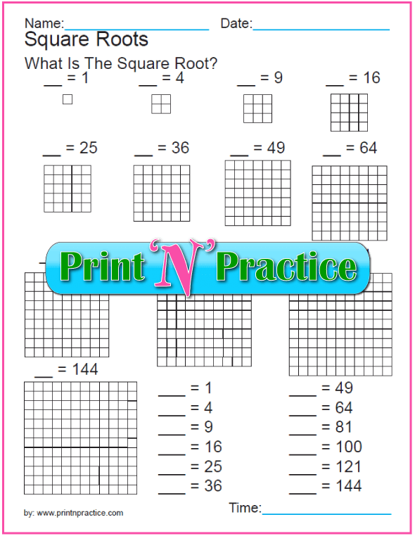 Exponent Worksheet: Square Roots PDF Practice 4