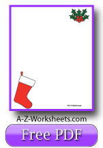 Unlined Printable Christmas Writing Paper: Red and Green Stocking with Holly - Merry Christmas!