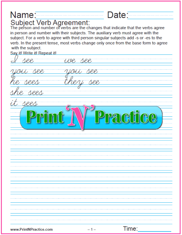 Cursive Create your own sentences & third person singular verb forms.