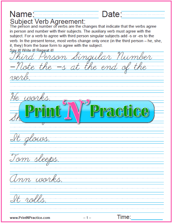 Cursive Third Person Singular - Practice and create your own subject verb agreement worksheet.