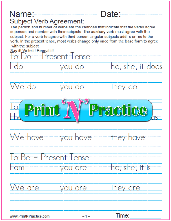 Subject Verb Agreement Worksheets Person and Number – Verb Tense Agreement Worksheets