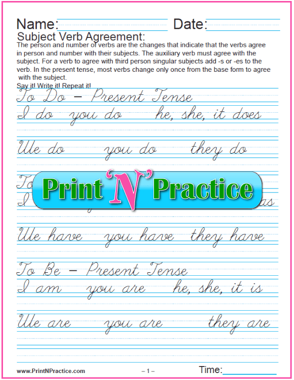 Cursive Subject Verb Agreement Worksheets.  Three pages: I am, you are, he is....