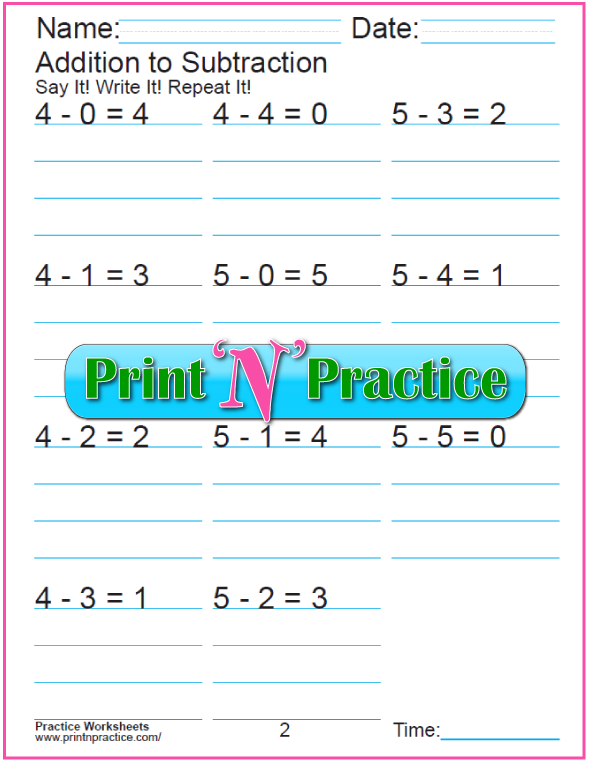 Practice Kindergarten Subtraction Worksheet: Subtracting 4 and 5