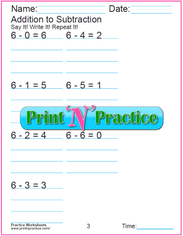 Practice Kindergarten Subtraction Worksheet: Subtracting 6