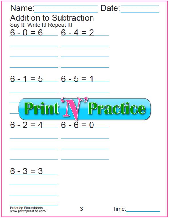Practice Kindergarten Subtraction Worksheet: Subtracting 6