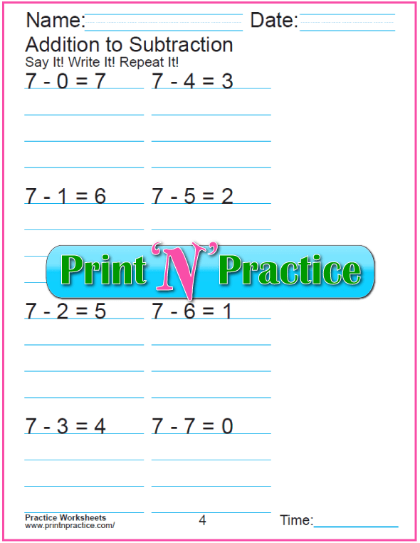 Practice Kindergarten Subtraction Worksheet: Subtracting 7