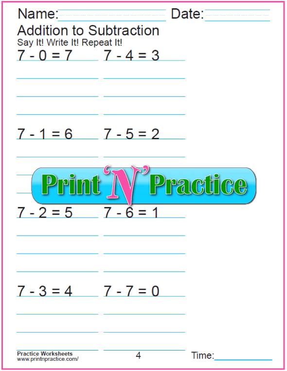 Practice Kindergarten Subtraction Worksheet: Subtracting 7