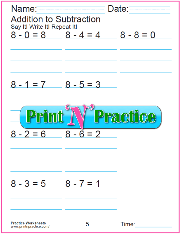Practice Kindergarten Subtraction Worksheet: Subtracting 8