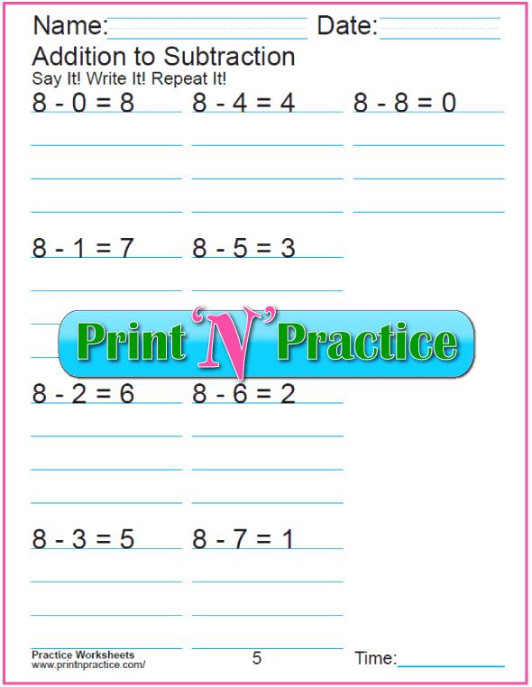 Practice Kindergarten Subtraction Worksheet: Subtracting 8