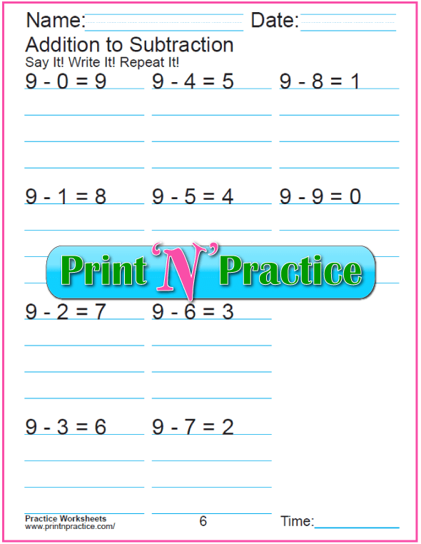 Practice Kindergarten Subtraction Worksheet: Subtracting 9