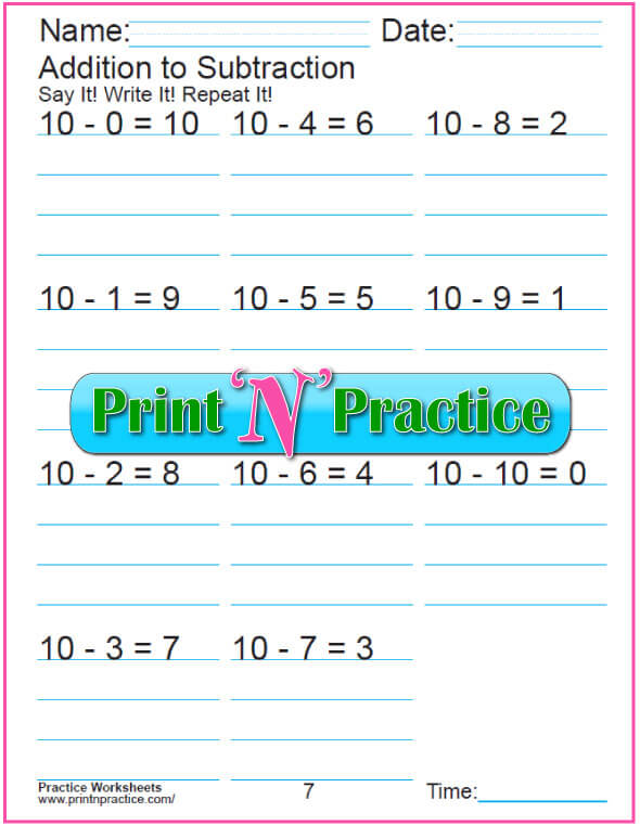 Practice Kindergarten Subtraction Worksheet: Subtracting 10