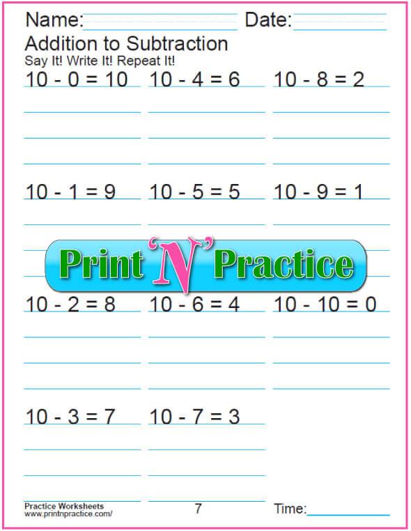 Practice Kindergarten Subtraction Worksheet: Subtracting 10