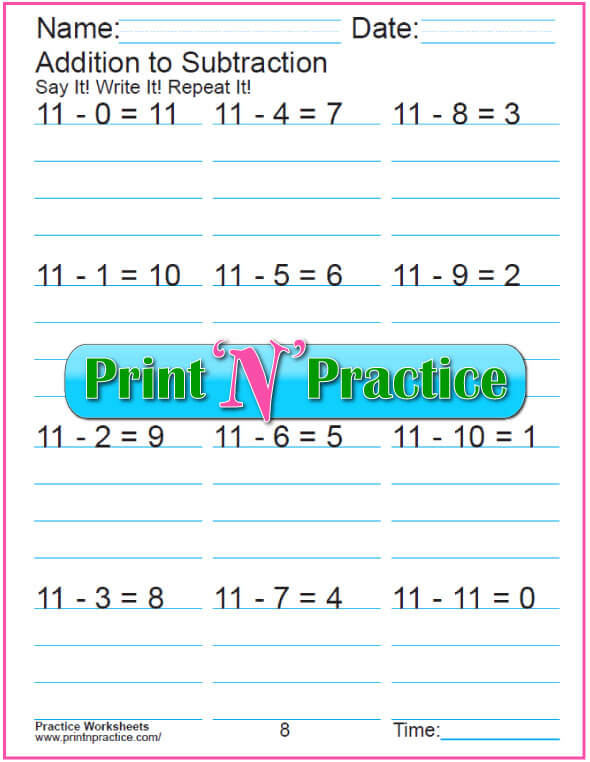 Practice Kindergarten Subtraction Worksheet: Subtracting 11