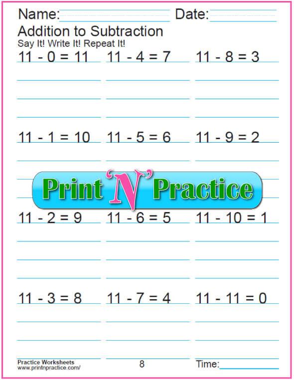 Practice Kindergarten Subtraction Worksheet: Subtracting 11