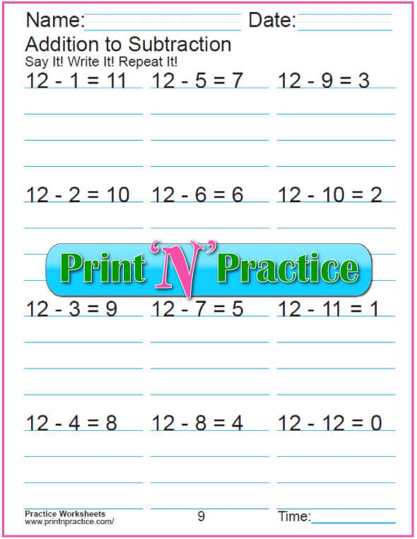 Practice Kindergarten Subtraction Worksheet: Subtracting 12