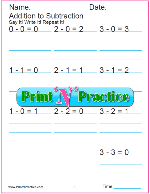 Practice Kindergarten Subtraction Worksheet: Subtracting one, two, three.