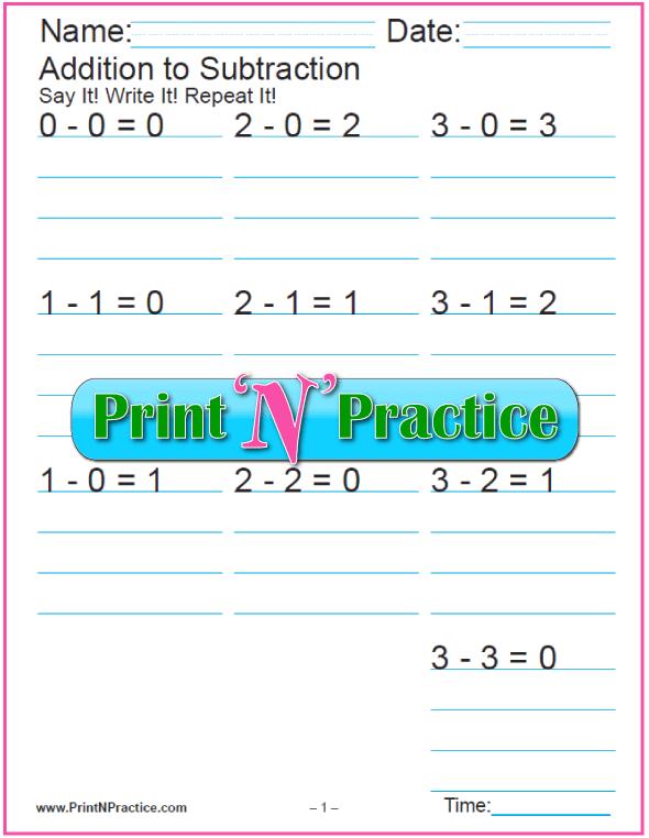Basic Subtraction Worksheets - Twelve Tables, Nine Sheets