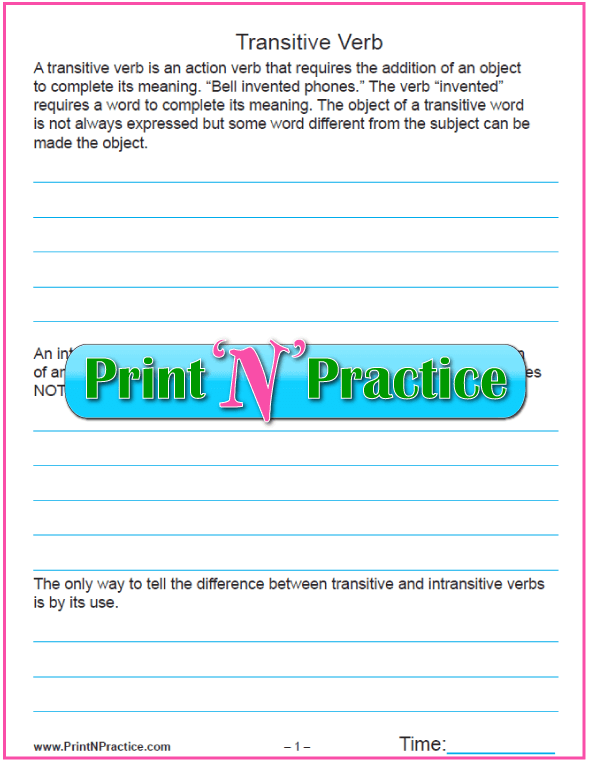 3 Pages What is a Transitive Verb Worksheet