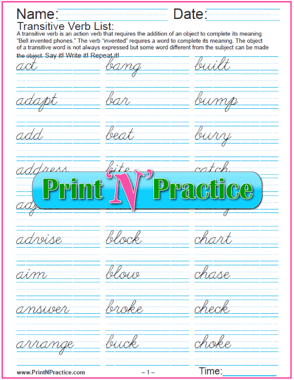 Printable List of Verbs to Practice: Cursive