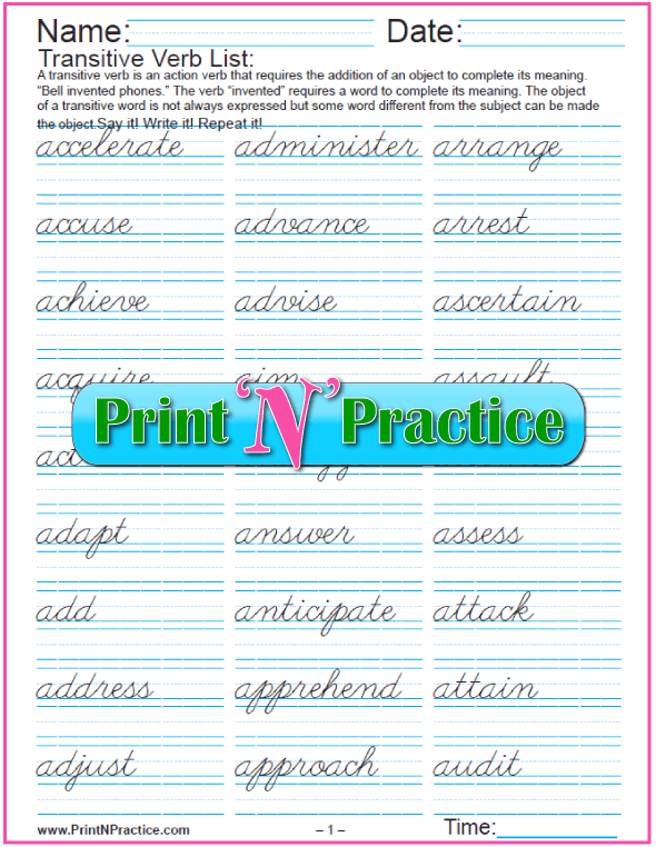 Cursive Writing - Transitive Verb List