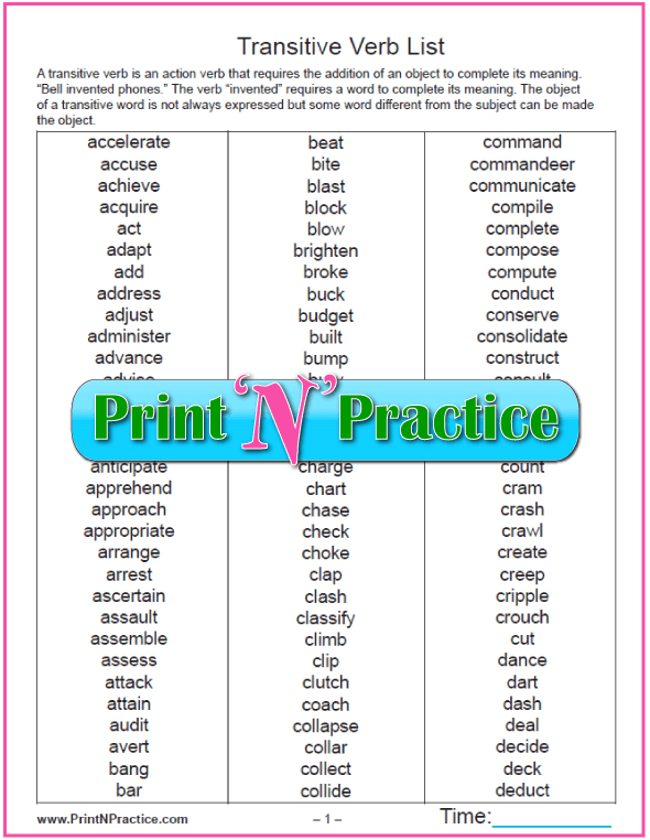 Types of Verbs 64 Kinds Of Verbs Worksheets – Transitive and Intransitive Verbs Worksheet