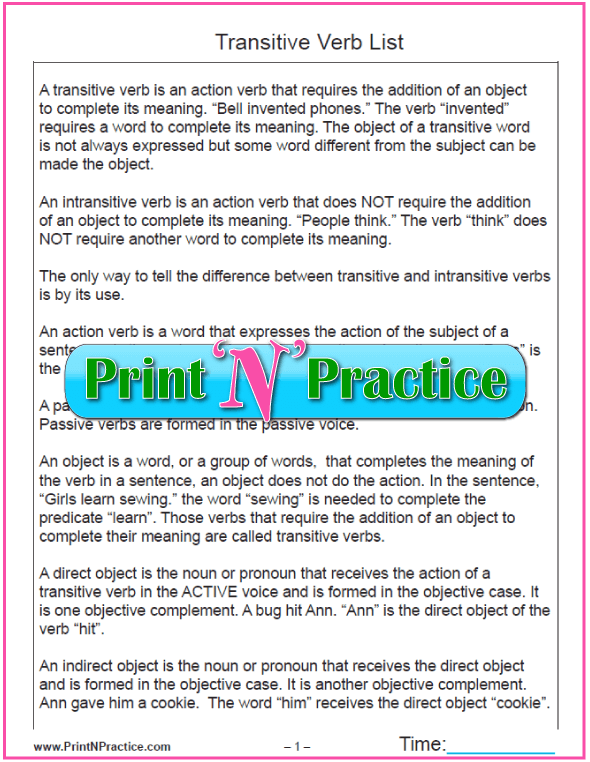 Printable Transitive Verb Reference Sheets PDF. #PrintableGrammarWorksheets I love PrintNPractice.com!