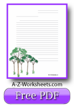 Printable Lined Writing Paper - Trees