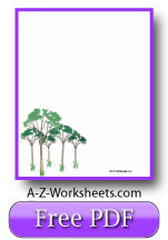 Printable Writing Paper: Trees in a grove.