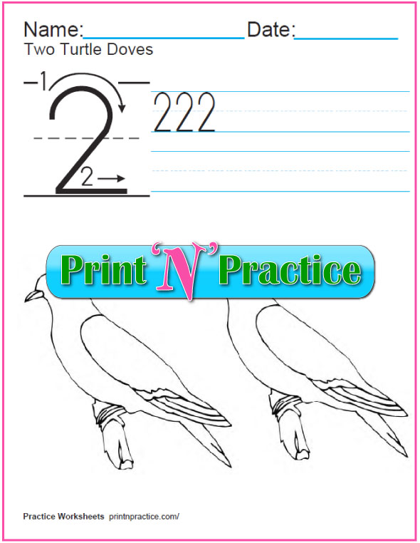 Christmas Math Worksheets: Twelve Days - Two Turtle Doves coloring page.