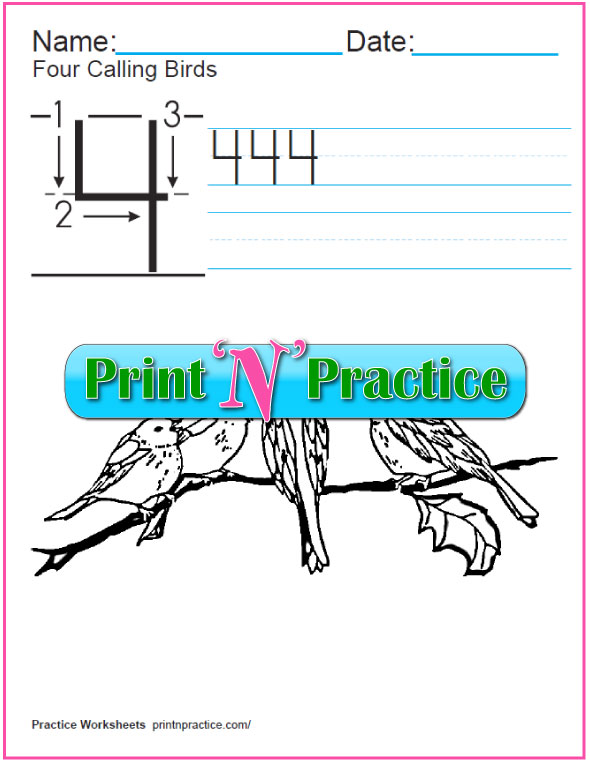 Christmas Math Worksheets: Twelve Days - Four Calling Birds coloring page.