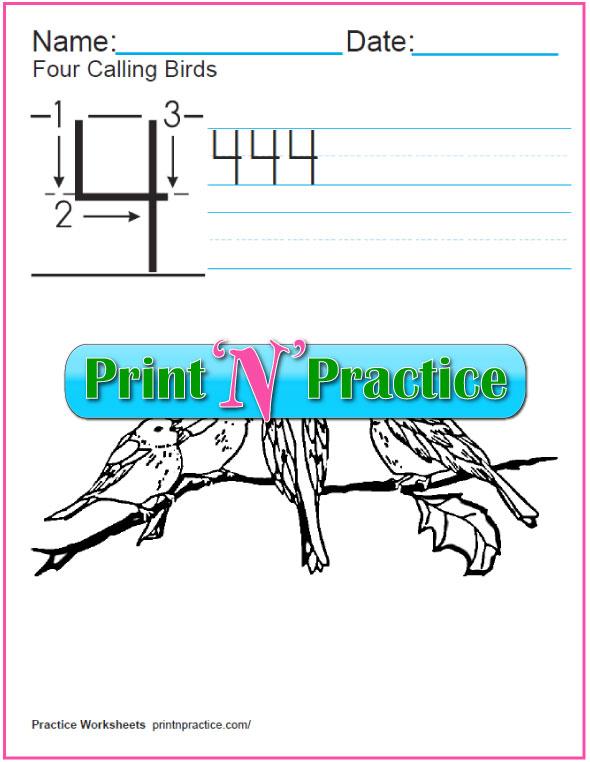 Christmas Math Worksheets: Twelve Days - Four Calling Birds Worksheet