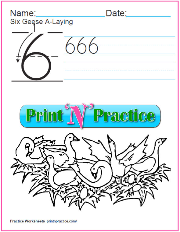 Christmas Math Worksheets: Twelve Days - Six Geese A Laying coloring page.
