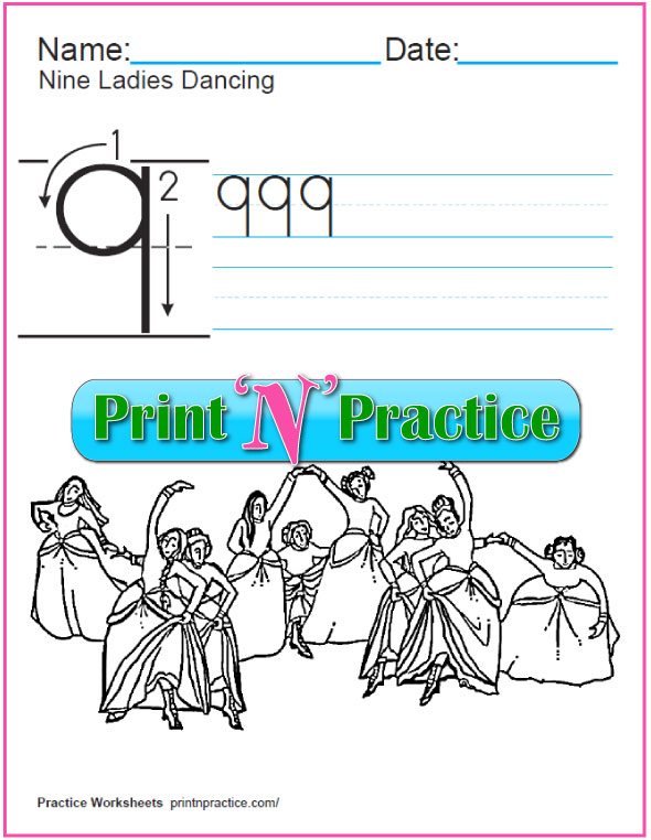 Christmas Math Worksheets: Twelve Days of Christmas - Nine Ladies Dancing Worksheet and coloring page.