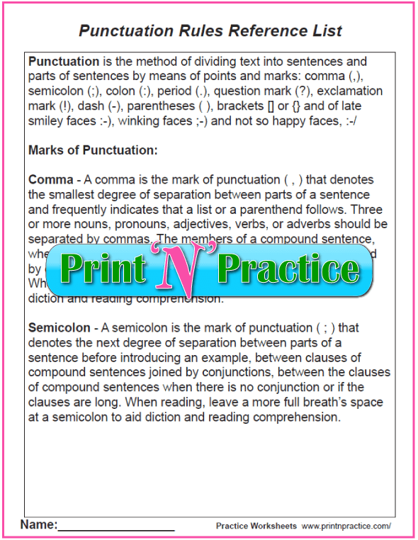 Printable Punctuation Rules Reference Sheet Great To Keep In Your Binder Or On Desktop: Semicolon Worksheets At Alzheimers-prions.com