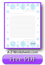 Printable Lined Writing Paper - Snowflakes