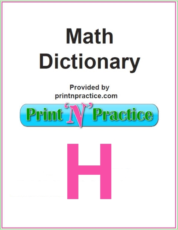 Math Words That Start With H: Half, Hectare, Helix. Find a printable Math Dictionary, too.