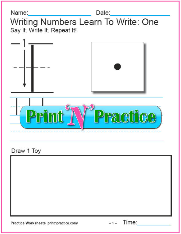 Number Writing Worksheets: 1-10, trace, copy, color.