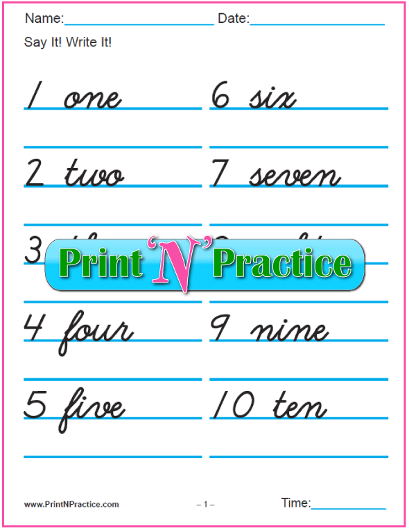 Cursive Number Writing Worksheets: 1-100 with words.