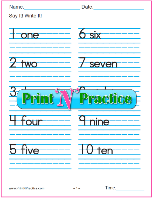 Manuscript Number Writing Worksheets: 1-100 with words.