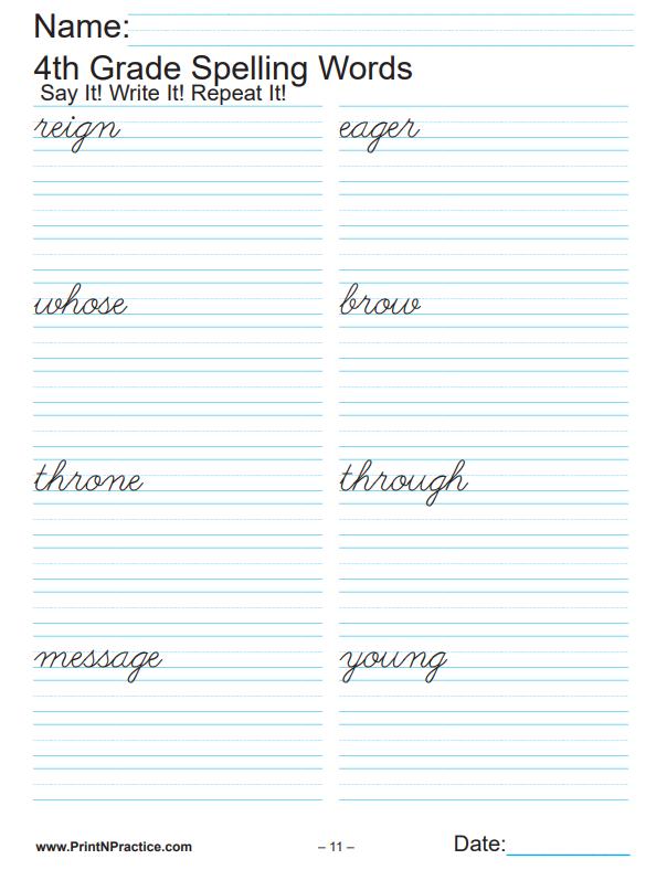 Printable Fourth Grade Spelling Worksheets & List