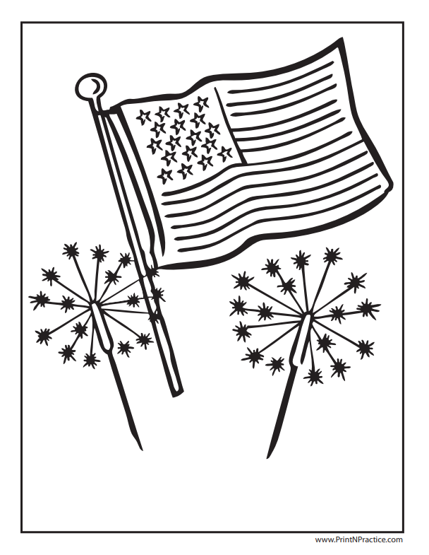 Flag Coloring Pages: Fireworks & USA Flag Coloring Page - Sparklers, Stars, and Stripes!