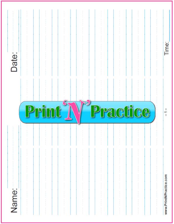 Printable Kindergarten Worksheets: Printable 5/8 Inch Writing Paper - Landscape in three columns for practice or quizzes- Kindergarten Writing Paper