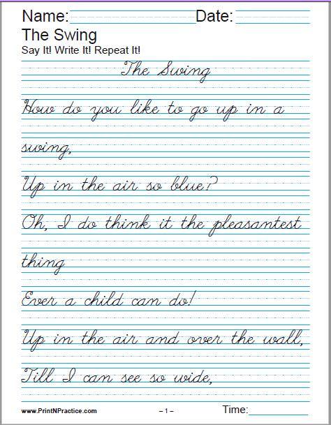 Cursive Handwriting Sheets for Handwriting practice.