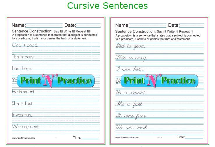 20 simple cursive sentences grammar worksheets. Black Bedroom Furniture Sets. Home Design Ideas