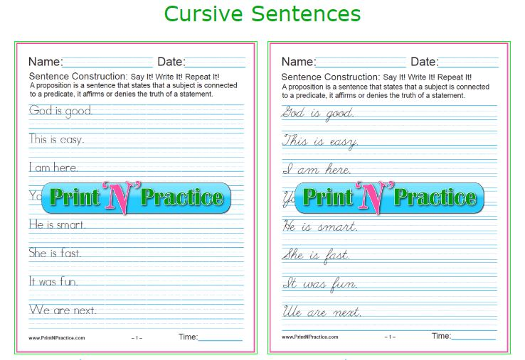 Cursive Sentences Printable Grammar Worksheets