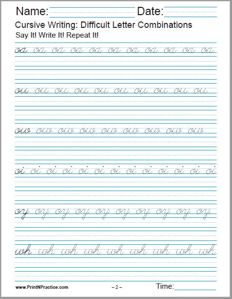 Cursive Practice: 1 Page Worksheet oa, ou, ow, oi, oy, wh.