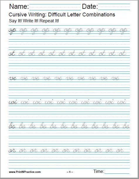 Cursive Handwriting Worksheet For op, ot, ve, wi, bs, or