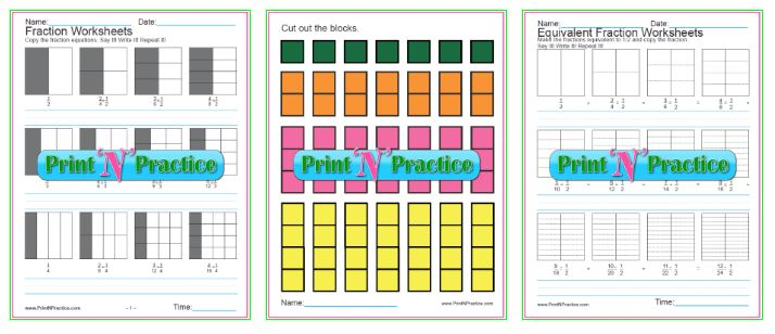 Equivalent Fraction Worksheets Charts, graphs, copywork.